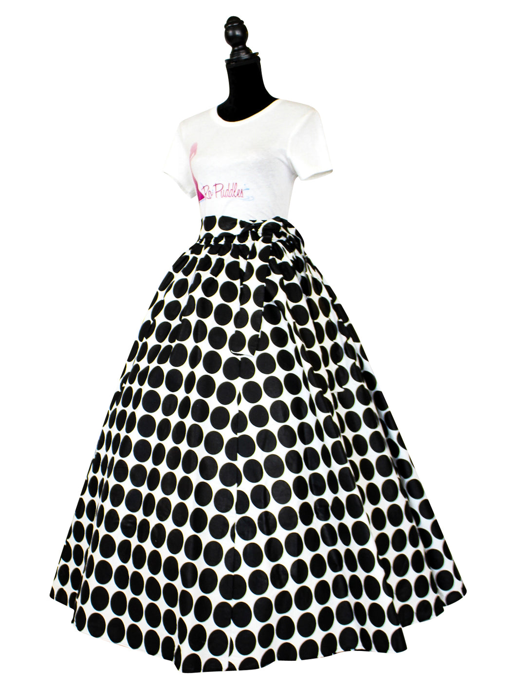 Fashions by RoPuddles African Print Black Polka Dot Skirt