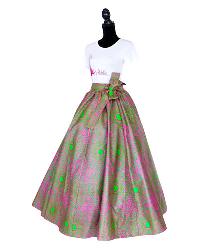 Pink and Green African Print Maxi Skirt