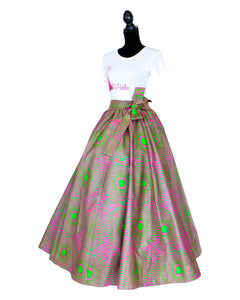 Pink and Green African Print Skirt