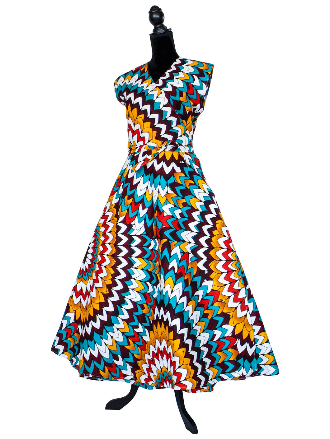 White Multicolor African Print Wrap Dress