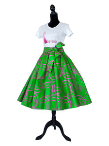pink and green African print midi skirt