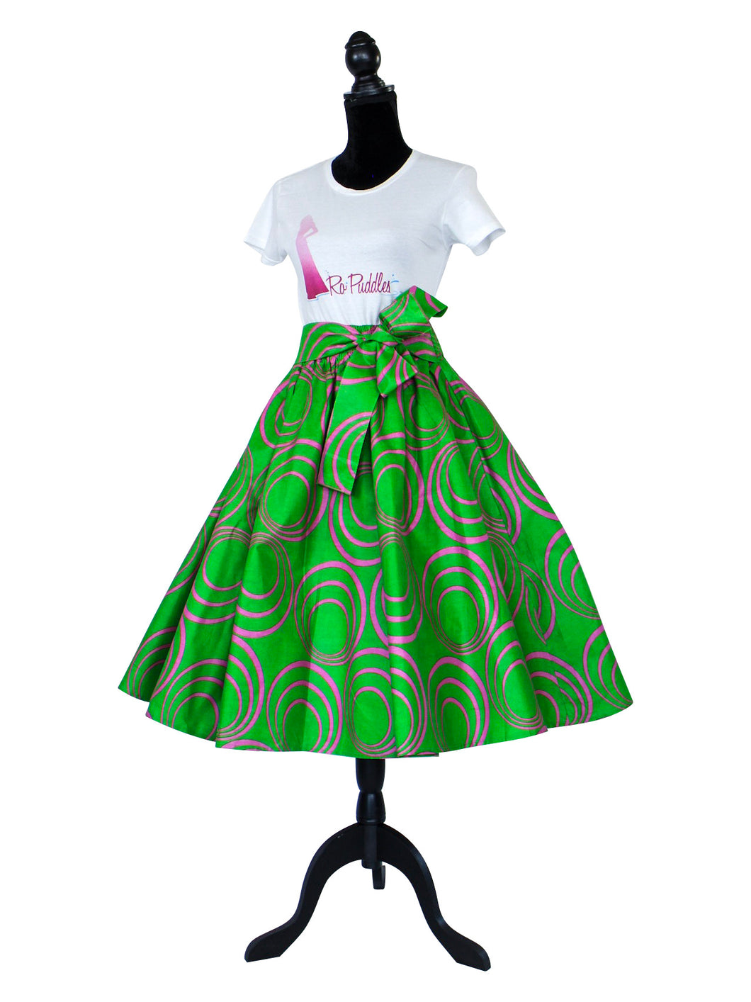 African Print Kelly Green Midi Skirt
