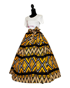 african print black and yellow maxi skirt