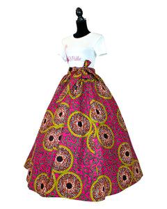 African print pink and yellow maxi skirt