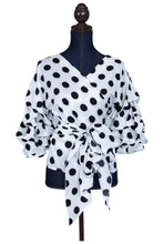 black and white polka dot wrap blouse