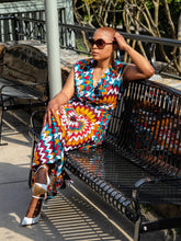 Multicolored 'Cinched Waist' Wrap Dress