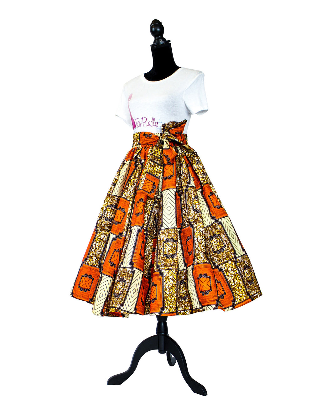 Fashions by RoPuddles Orange and Brown print skirt