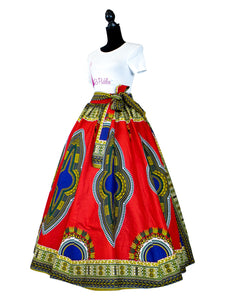 Fashions by RoPuddles African Print Red and Blue Dashiki Skirt