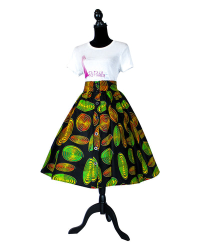 Fashions by RoPuddles Black Multicolor African Print Skirt
