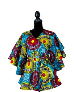 Fashions by RoPuddles Turquoise Blue African Print Wrap Peplum Top