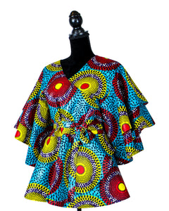 Turquoise Blue African Print Wrap Peplum Top