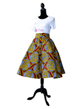 African Print Blue and Yellow Skirt