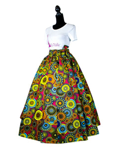 Fashions by RoPuddles Pink Multicolor African Print Skirt