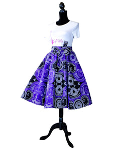 African Print Purple and Black Skirt