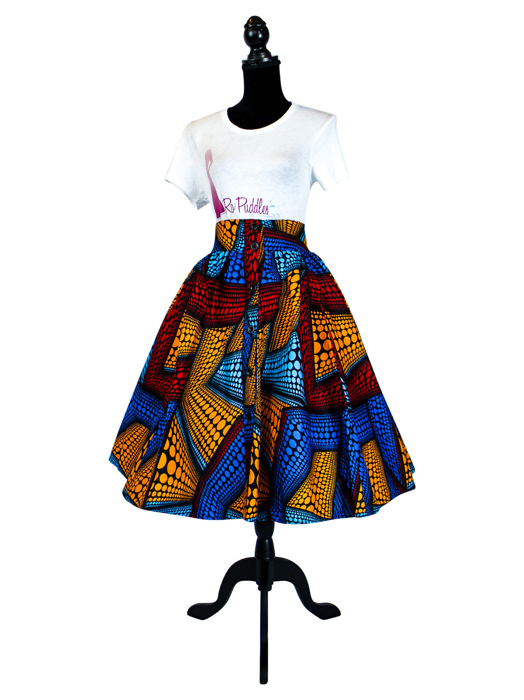 Fashions by RoPuddles African Print Red Multicolor Midi Skirt