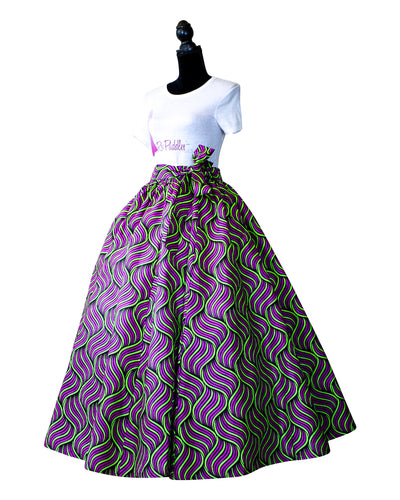 African Print Purple and Green Maxi Skirt