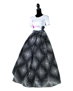Fashions by RoPuddles Black and white polka dot african print skirt