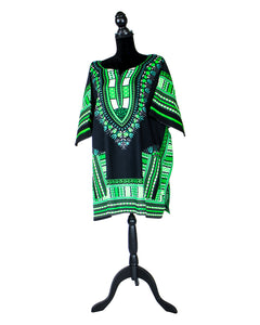 Fashions by RoPuddles Green and Black Dashiki Shirt