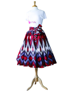 african print red and purple skirt