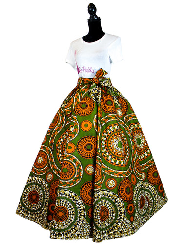 Fashions by RoPuddles African Print Green and Orange Skirt
