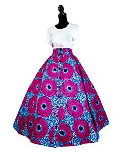 Fashions by RoPuddles African Print Pink and Blue Maxi Skirt