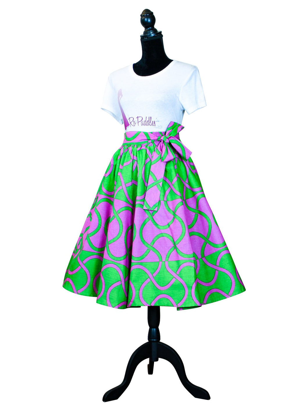 Fashions by RoPuddles African Print Pink and Green Skirt