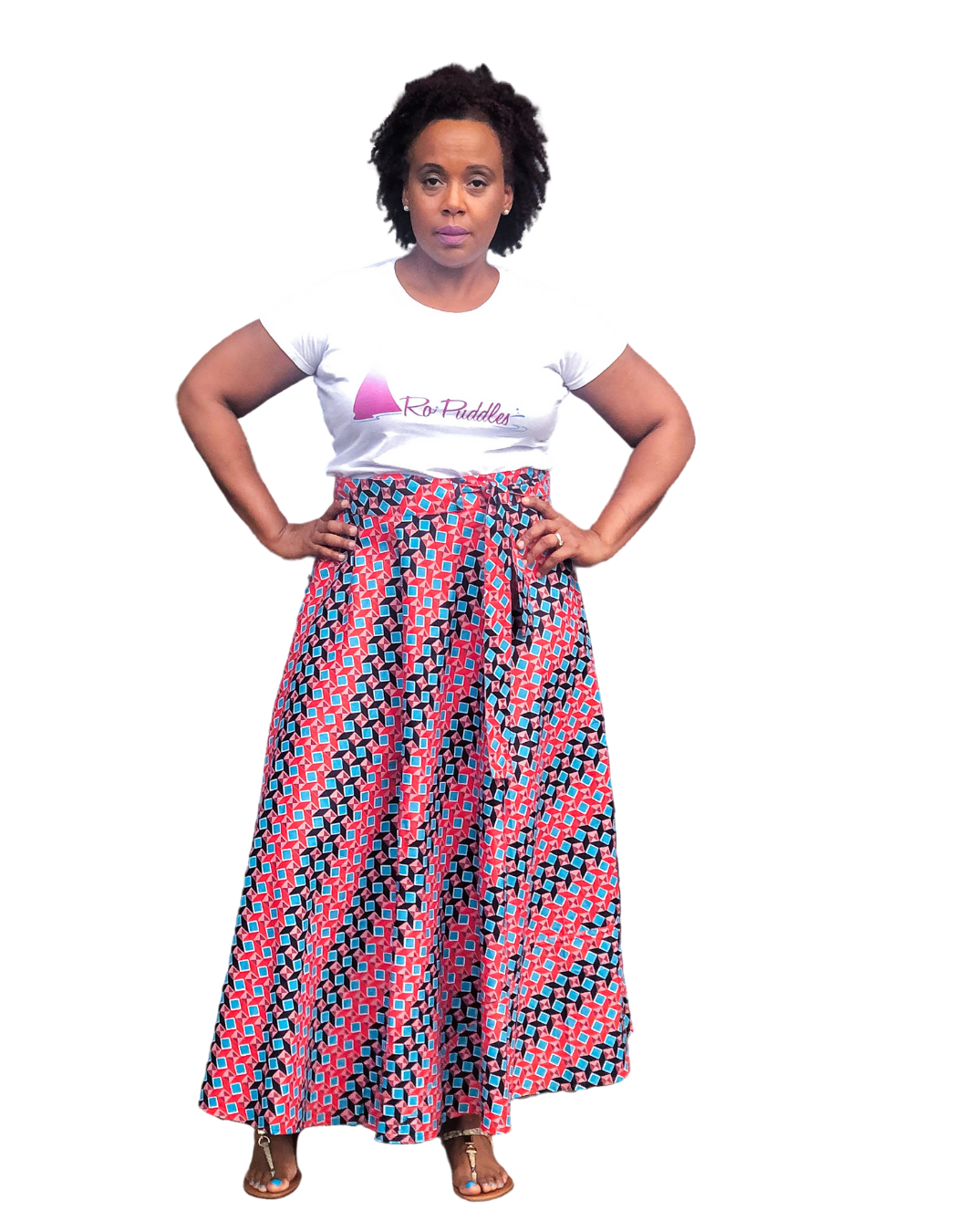 african print pink multicolor wrap skirt