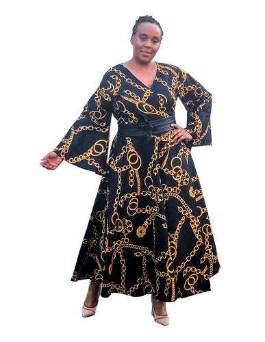 black and gold african print dress