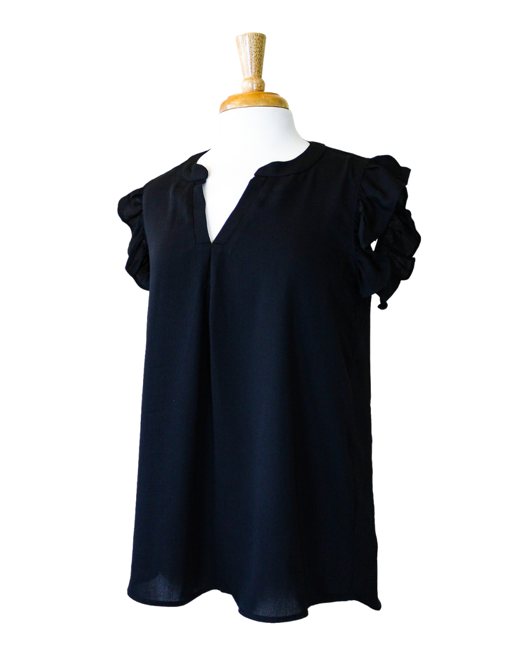 Fashions by RoPuddles black ruffle sleeve top