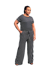Fashions by RoPuddles Black Striped Jumpsuit