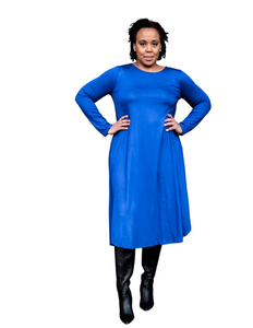blue long sleeve midi dress