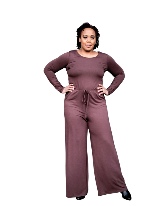brown long sleeve jumpsuit
