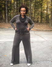 Gray long sleeve jumpsuit
