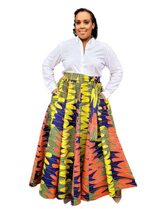 green multicolor african print skirt