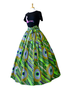 Fashions by RoPuddles Green and Yellow African Print Skirt