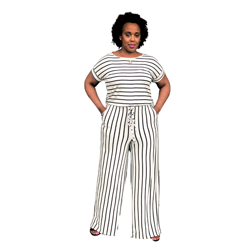 Fashions by RoPuddles Ivory and Black Striped Jumpsuit