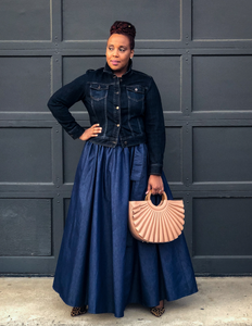 fashions by ropuddles denim maxi skirt