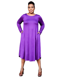 purple long sleeve midi dress