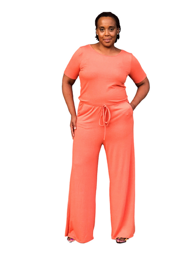 Orange Knit Jumpsuit