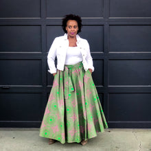African Print Pink and Green Skirt