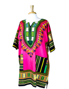 Pink and Green Dashiki Shirt