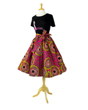 pink and yellow african print skirt