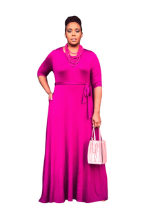 plus size pink maxi dress