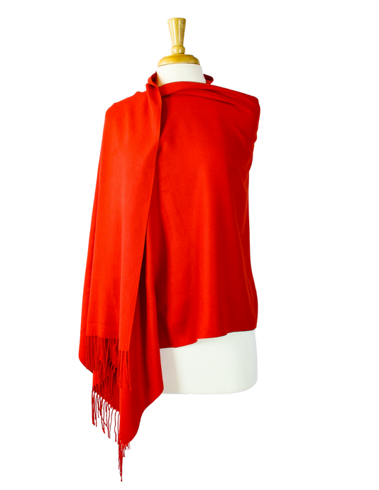 Red cashmere wrap shawl
