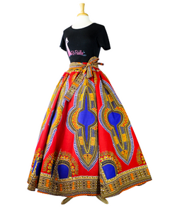 red and blue dashiki maxi skirt