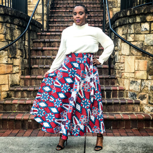 'Red Elegance' Multicolor Wrap Skirt