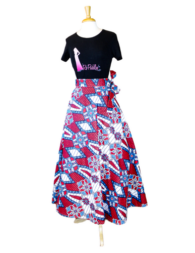 red and blue african skirt