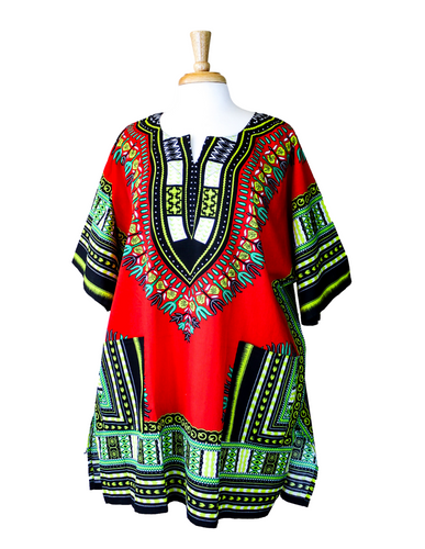 red and green dashiki shirt
