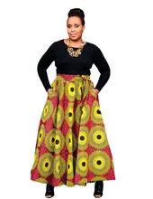 red and yellow african print skirt