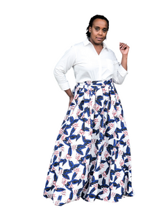 Fashions by RoPuddles White Floral Skirt